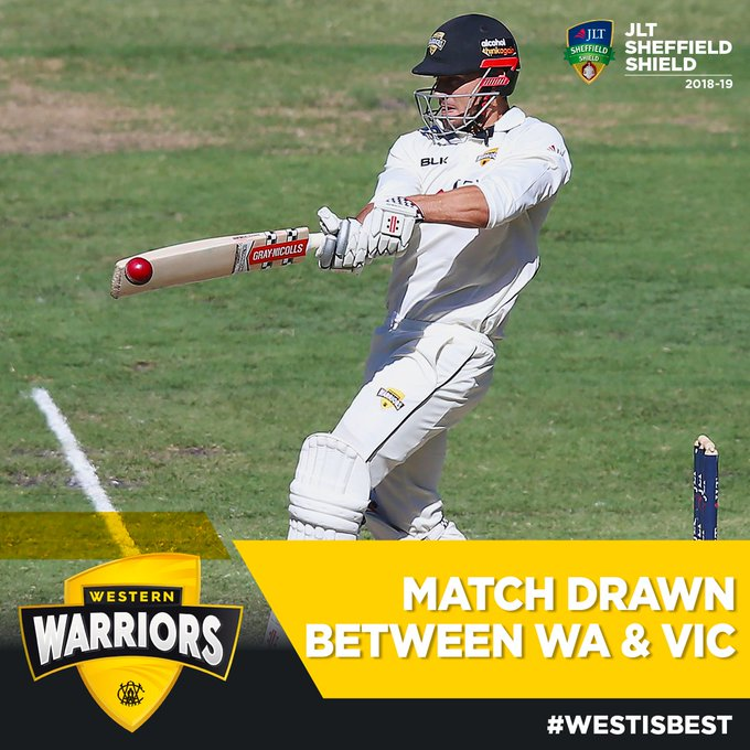 What a fightback by the Warriors! Our Round 8 JLT Sheffield Shield clash against the Vics results in a Draw 👊🏻Led by an impressive final innings 85 from @MStoinis #SheffieldShield #WAvVIC Photo