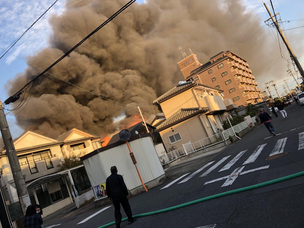 稲沢市祖父江町祖父江で大規模火災の現場画像