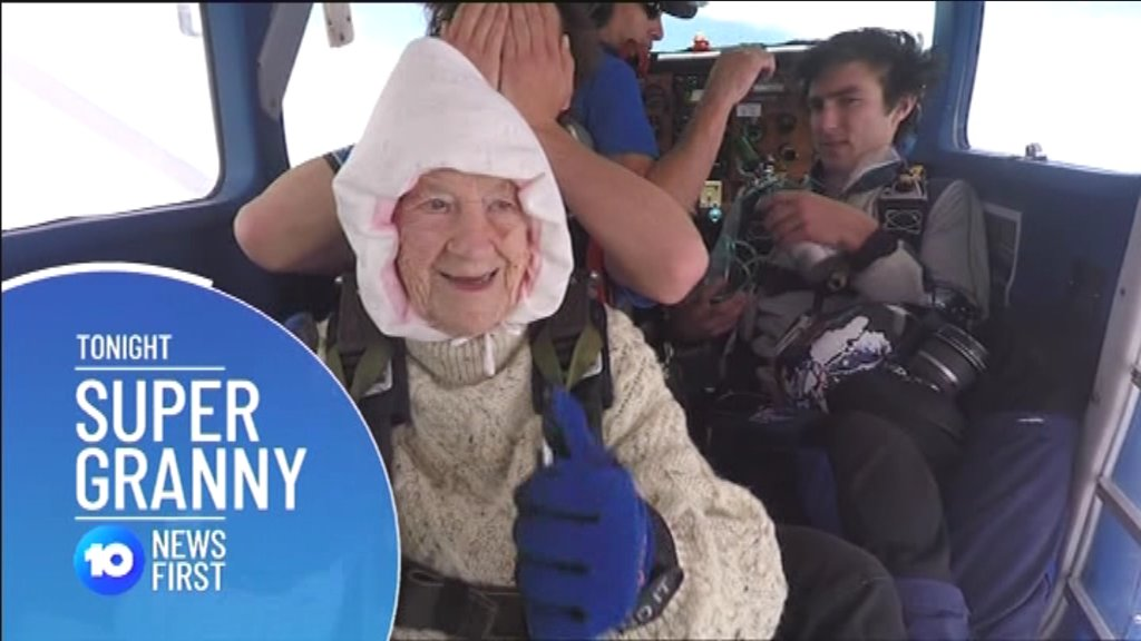 WATCH: A 102-year-old great grandmother has reached new heights, setting the record for the world's oldest skydiver, after jumping from a plane over Langhorne Creek.  https://t.co/NbapDu55rA