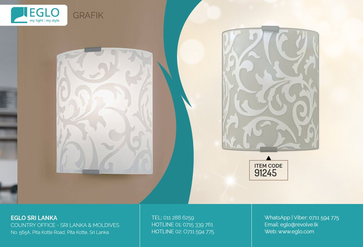 Eglo Lighting Sri Lanka On Twitter This Elegant Wall Lamp Made Of Silver Steel Base And Rectangular White Glass Diffuser With Floral Motifs From Eglo Grafik Collection Is A Great Solution For,Principles Of Design Pattern Painting