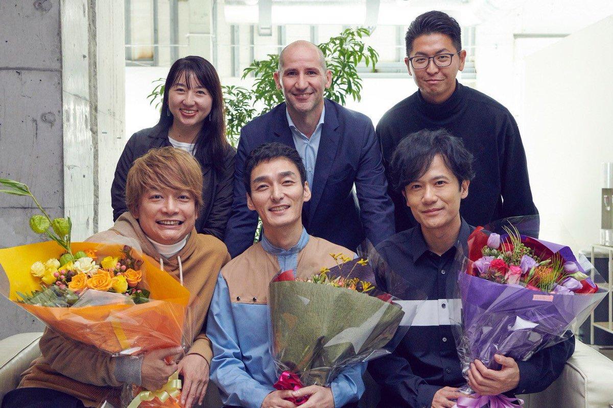 "We join Amazon Music!  Photo with Mr. Rene Fasco, Ms. Mai Ohira, Mr. Kohei Hisada and us"" #AmazonMusic @amazonmusicjp #新しい地図 #ShingoKatori #Goroinagaki #TsuyoshiKusanagi<br>http://pic.twitter.com/K3xfXXTpin"