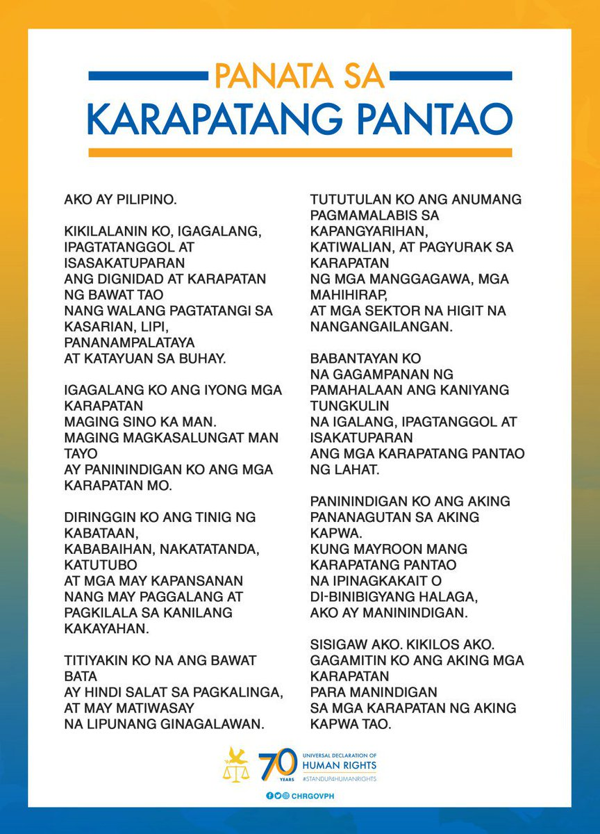 chr philippines on twitter let us all recite the panata sa