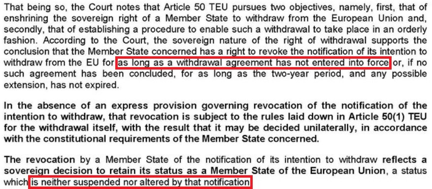Two particularly interesting points in today's #ECJ ruling: Article 50 can be revoked as long as no exit deal agreed. So even more reason for Remainers to vote against  tomorrow. Also, if UK revoked, they'd go back to previous  membership #EUterms. #Brexit