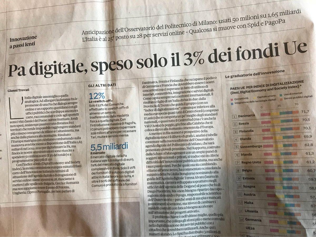 """Quando vi dicono """"serve+Stato"""", ridete loro in faccia con queste verità: usato solo 3% di 1,6mld fondi Ue x digitalizzare fantastica PA Ita"""