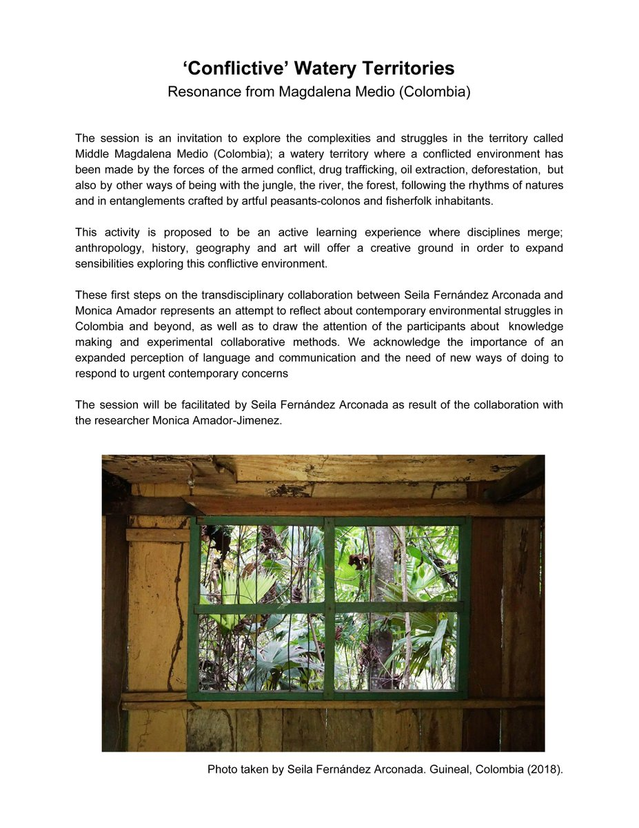 'Conflictive' #WateryTerritories #conflict #DOCUMENTATION last month #workshop #artist #artistleader #soudscape #art #BristolUni #Bristol #UK #Colombia #MagdalenaMedio #collaboration #research #socialscience #antropology #creativecartographies More #info http://www.seilafernandezarconada.net/pic.twitter.com/L6DFSSVxFg