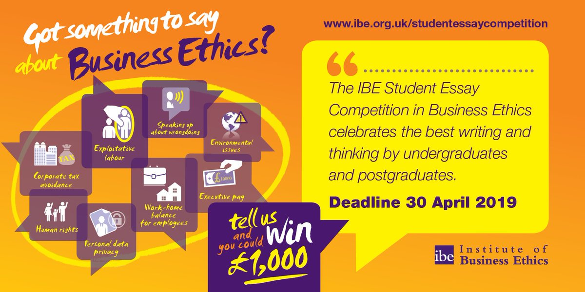 inst business ethics on twitter the ibes  student essay  were looking for the best writing on businessethics please share and rt  ibestudents httpswwwibeorgukstudentessaycompetition