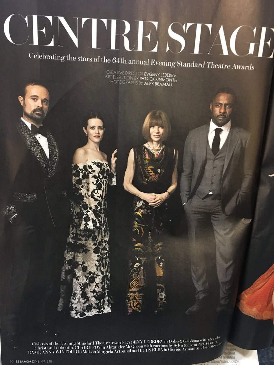 I will never stop enjoying the Evening Standard under Evgeny Lebedev (creative director of shoot celebrating theatre actors but still somehow starring Evgeny Lebedev: Evgeny Lebedev. Evgeny Lebedev's shoes by Christian Louboutin)
