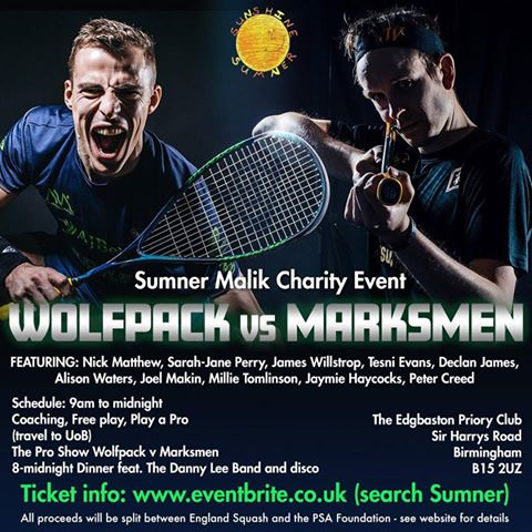 test Twitter Media - Step on court with Britain's finest players at an action-packed charity event in honour of Sumner Malik on Saturday 22 December @EdgbastonPriory.   A mouth-watering battle between the Wolfpack and the Marksmen awaits! 🥊  🎟️ https://t.co/tc83kyPErn  RT  #Squash https://t.co/qGEhN0jIdb