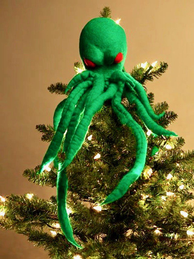 Tempting though it is to buy a new tree topper, you cant beat a Great Old One. #CthulhuChristmas