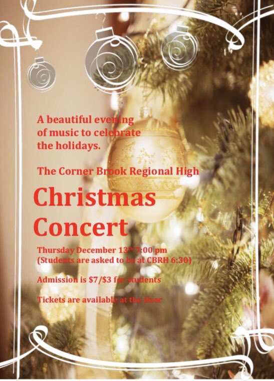Christmas concert at #CornerBrook Regional High is Thurs., Dec. 13th. Special guests are Yvette Coleman & . @darrenhancock68@cbrh