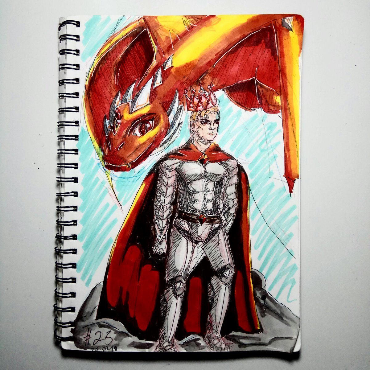 These are my beautiful royals. Burning like the bane of the flame. #art #oc #characterdesign #characterart #fantasy #dragon #markers #medivaltimes