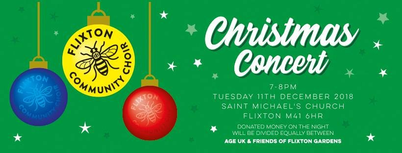 Flixton Community Choir will be performing their #Christmas #concert at #StMichaels #Church at 7pm tomorrow evening. It is #freeentry #donations to @AgeUKTrafford and #FriendsofFlixtonGardens #Flixton #Trafford #Urmston