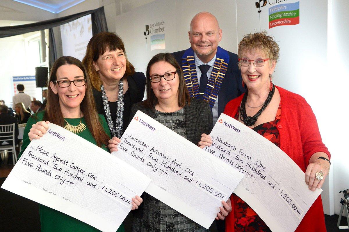 Three charities share @EMChamberNews fundraising efforts @hopeagnstcancer Leicester Animal Aid and Rhubarb Farm - three more announced as 2019 beneficiaries @CHICKScharity @SkillForceUK and @Twenty_TwentyUK... https://bit.ly/2rsznYH