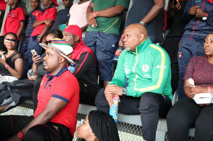 After their #TKO2018FINAL victory on Saturday @Baroka_FC CEO, Morgan Mammila left celebrations yesterday to attend our home match against @StellenboschFC Rea leboga Moroka! Congrats on your victory🏆🏅🍾👏👏 Photo