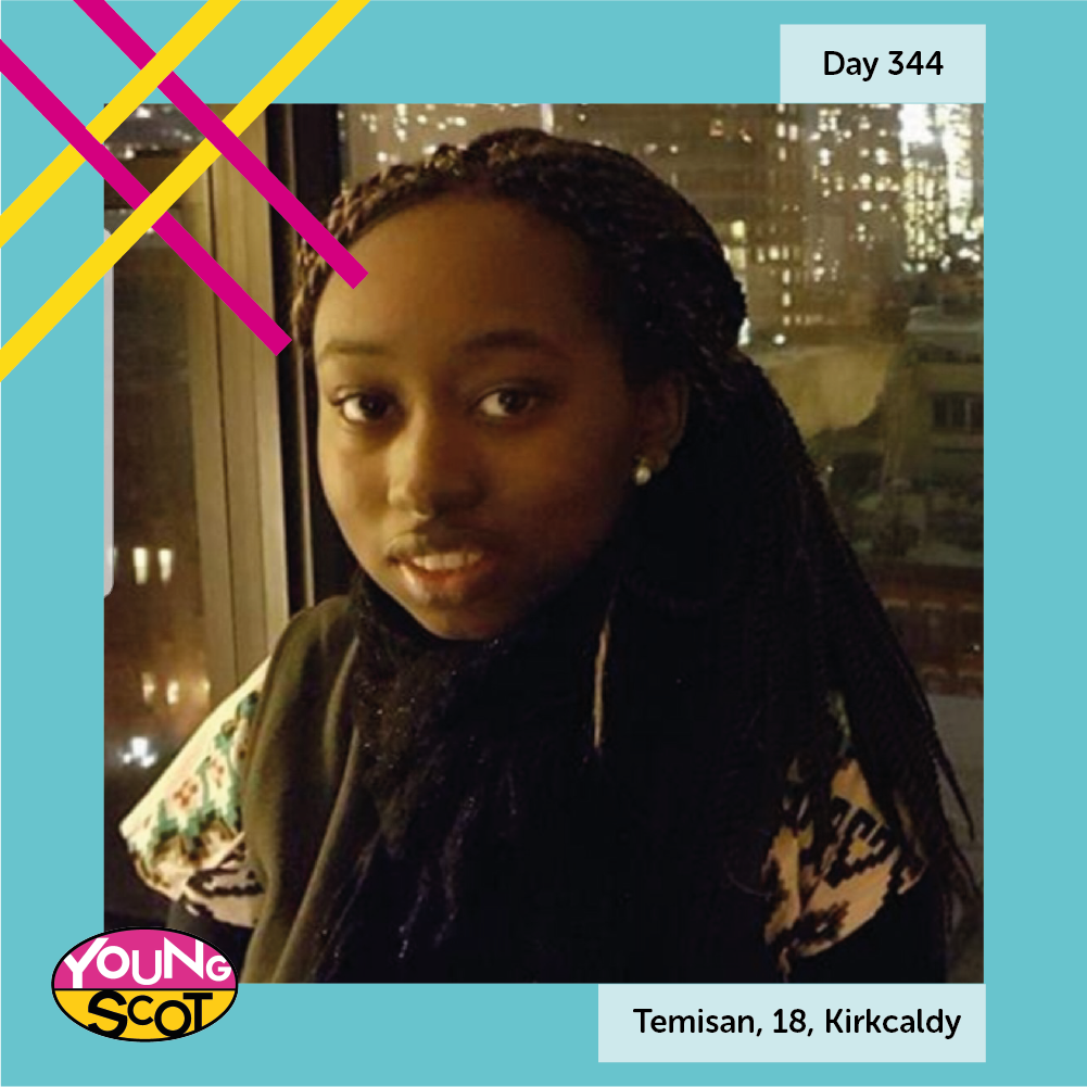 """#MyStory365 Day 344: Temisan, 18, Kirkcaldy My friends inspire me; they represent the everyday, regular Scots who are fun to be around."""" Read Temisan's story and share your story at mystory365.scot! #YOYP2018"""