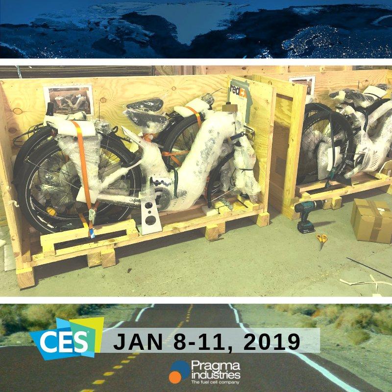 """""""Emballé, c'est pesé !"""" Les vélos à hydrogène Alpha @PragmaFuelCells sont en route pour le @CES à Las Vegas.😎🚴♀️ #H2bike #cleantech #cleanenergy #energieDouce #hydrogen #fuelCell #vae #H2Now #CES2019 #SmartMobility #technews #innovation #Energies #fahrrad #ecofriendly #bike #vae"""