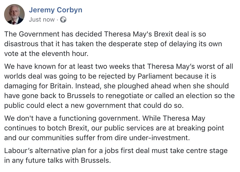 The Government has decided Theresa Mays Brexit deal is so disastrous that it has taken the desperate step of delaying its own vote at the eleventh hour.