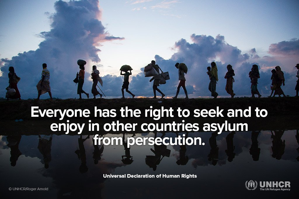 Everyone has the right to life and liberty.  Everyone has the right to freedom from fear. Everyone has the right to seek asylum from persecution.  #HumanRightsDay