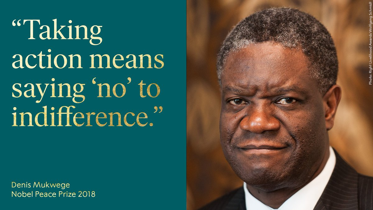 This year's laureate Denis Mukwege speaking at today's #NobelPeacePrize award ceremony.
