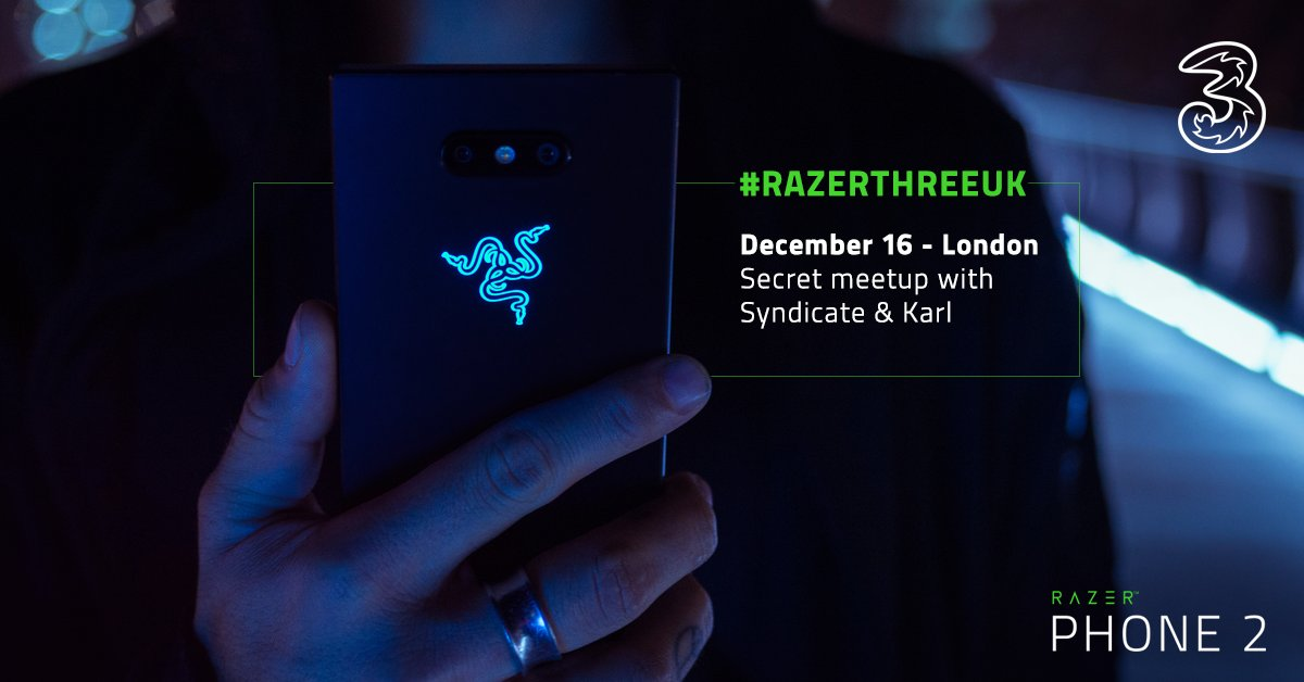 Want to meet with @ProSyndicate and @karlhandforth in London? Our friends at @ThreeUK is offering you the chance to do so. Come get some games in on the Razer Phone 2 with us, slots are limited, enter here:  http:// rzr.to/rzr3uk  &nbsp;   #RazerThreeUK<br>http://pic.twitter.com/zHfzYLT5yF
