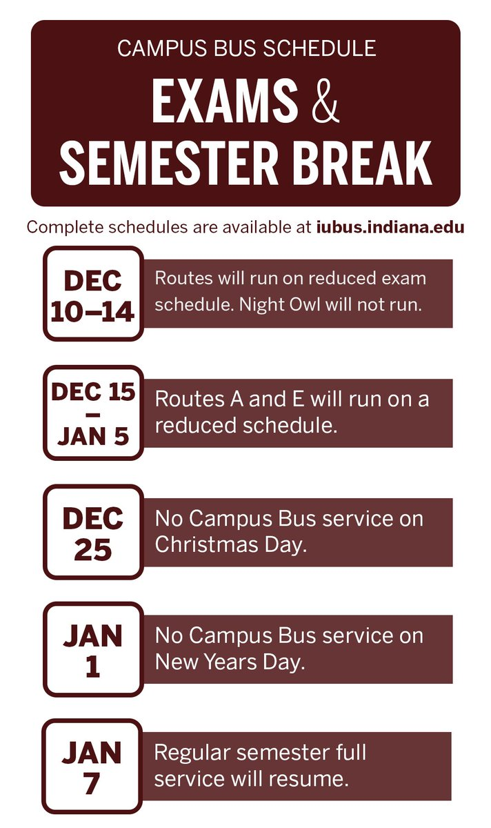 Residential Programs On Twitter Staying On Campus So Is Iubcampusbus Check The Bus Break Schedule For Adjusted Times Https T Co Syqypp0lge