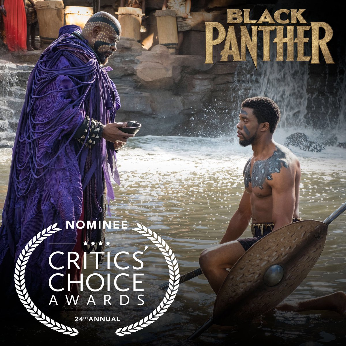 Congratulations to Marvel Studios' #BlackPanther which has been nominated for 12 #CriticsChoice Awards, including Best Picture!