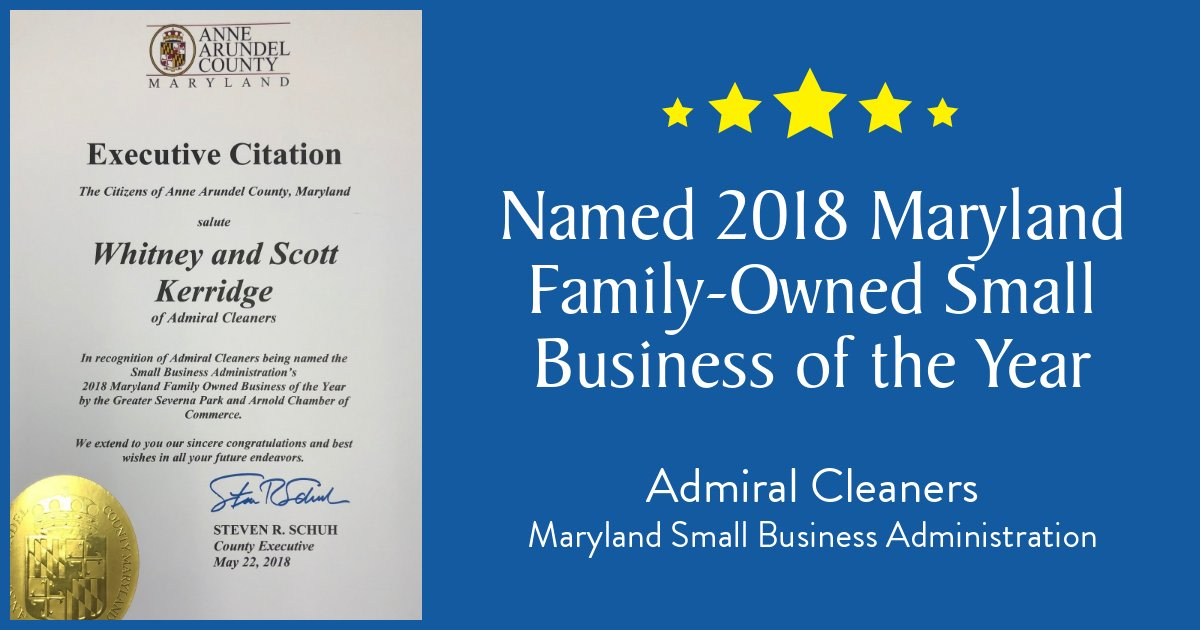 We are honored to be named the 2018 Maryland Family-Owned Small Business of the Year! #Annapolis #SevernaPark #Crofton #Gambrills #Easton #Salisbury #Edgewater #StMichaels #smallbusiness