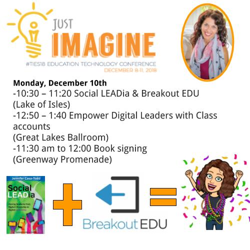 Good morning, #TIES18 Here's where I'll be today! Would love to meet you! #socialLEADia