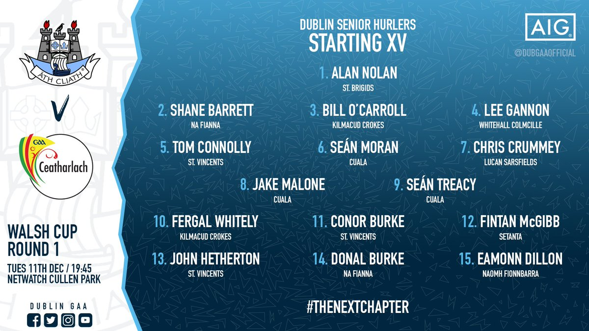 test Twitter Media - Mattie Kenny has named the team for his inaugural match as manager of our Senior Hurlers!  🔥 Here is the starting XV for their opening game of the @gaaleinster Walsh Cup tomorrow against @Carlow_GAA! 💪 #TheNextChapter https://t.co/DIm32dvcmT