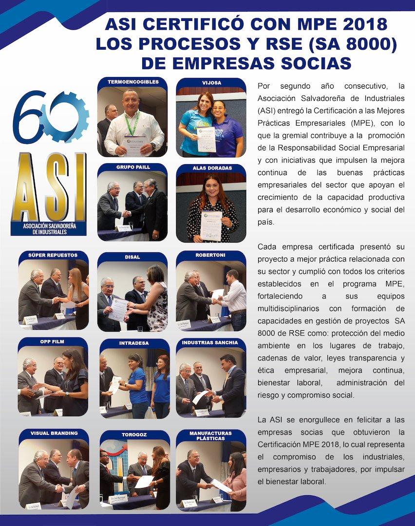 La ASI se enorgullece en felicitar a las empresas socias que recibieron la Certificación MPE #Industriales #SomosElMotorDeLaEconomía #MejoresPrácticasEmpresariales #MPE
