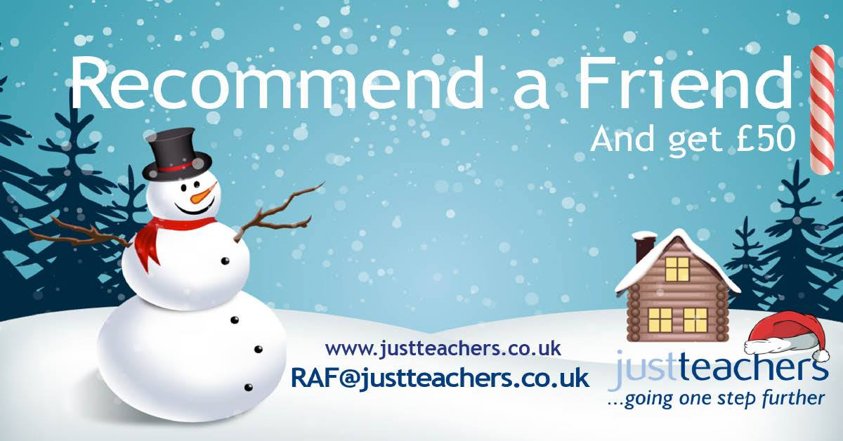 test Twitter Media - As we are gearing up for the Christmas break, now seems the perfect time to remind you about our refer a friend scheme. Here at justteachers we offer a £50 reward for every eligible Teacher/Teaching Staff recommended. Simply go to: https://t.co/KGyUu3g4Cj for more information. https://t.co/sujKCYEori