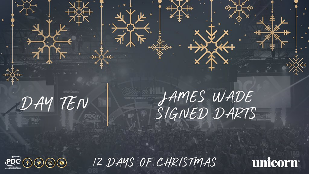 DAY TEN! Retweet for the chance to win a signed set of James Wade darts, courtesy of @UnicornDarts https://t.co/46dlBJB8JL