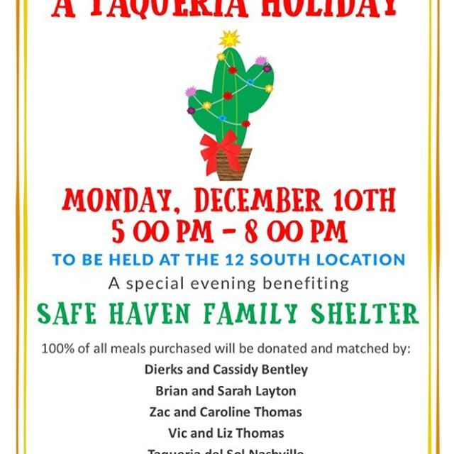 our annual @taqueriadelsol party benefitting @safehaventn is tonight! Every dollar spent on food and drinks will be matched by 7 dollars from sponsors. Come out to one of my favorite 12 South restaurants and help us raise some money for this awesome fami… ift.tt/2zQxvxC