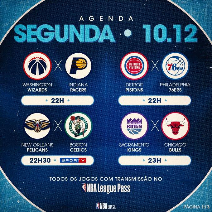 Onze jogos vão abrir a semana, com direito a uma transmissão nos canais do @SporTV! Confira os confrontos! #NBAnoSporTV Foto