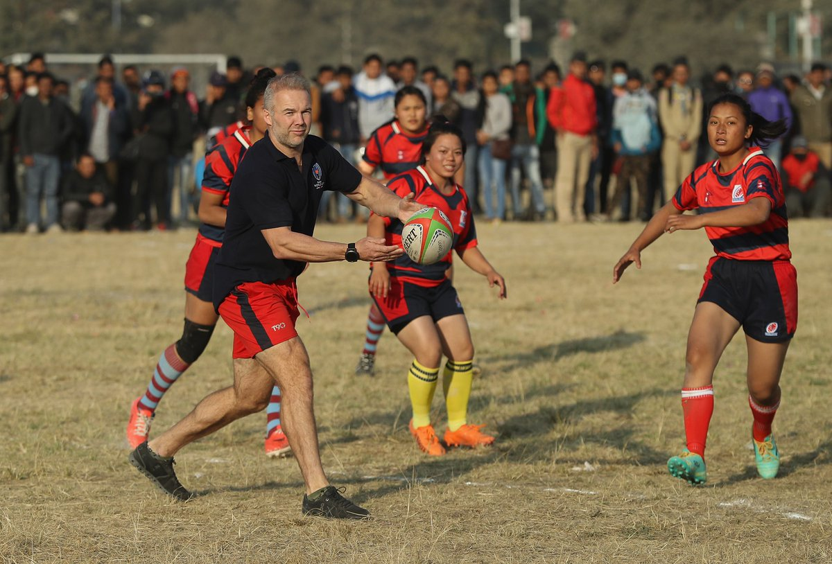 test Twitter Media - Former England international @OlliePhillips11 is given a lesson in Nepalese rugby by @nepalrugby women's side https://t.co/LseKxlri9B
