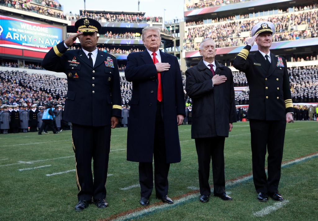 President @realDonaldTrump and U.S. Defense Secretary Mattis honor the flag with the superintendents of the U.S. Military Academy and U.S. Naval Academy at the Army-Navy football game in Philadelphia on Saturday.