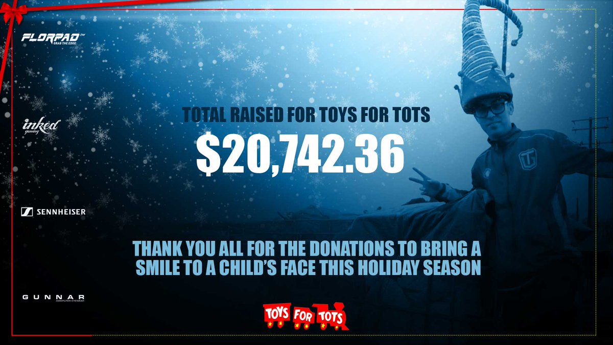 Thank you everyone in making this possible for @ToysForTots_USA A special thanks to our sponsors @OfficialFlorpad @SennheiserGamer @InkedPlaymats @SpearheadMtl for the giveaways. #toysfortots