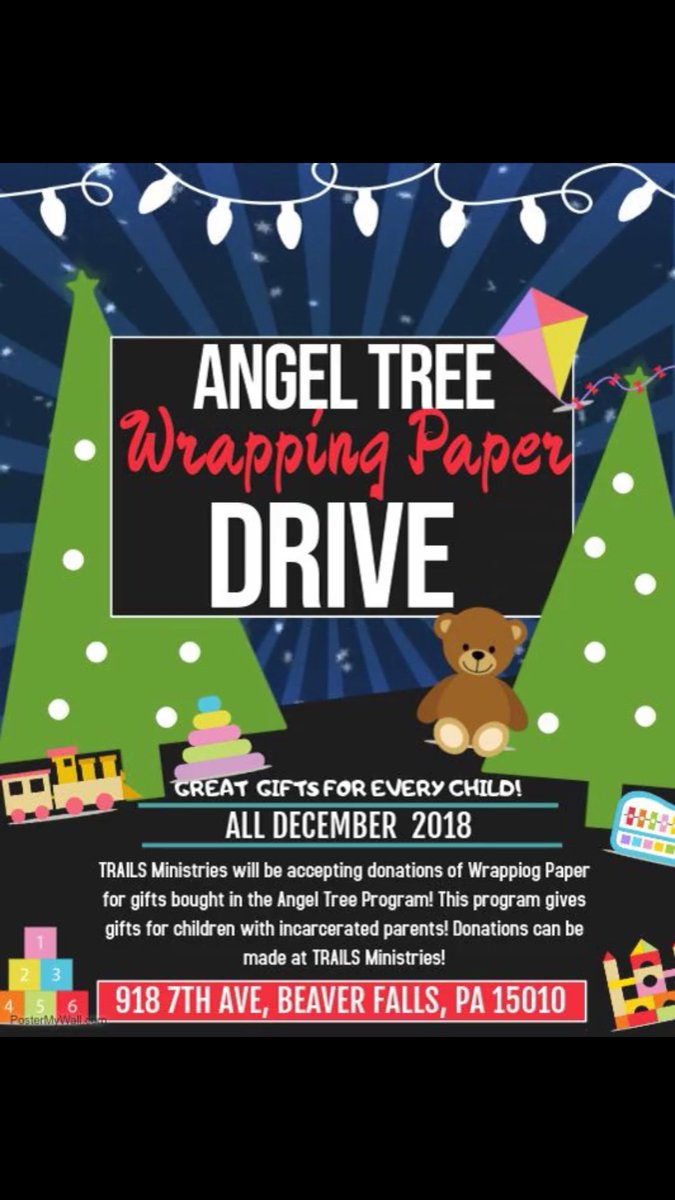 TRAILS Wrapping Paper Drive! Take all donations to TRAILS Ministries in Downtown Beaver Falls, PA! <br>http://pic.twitter.com/UZUOEzojlm