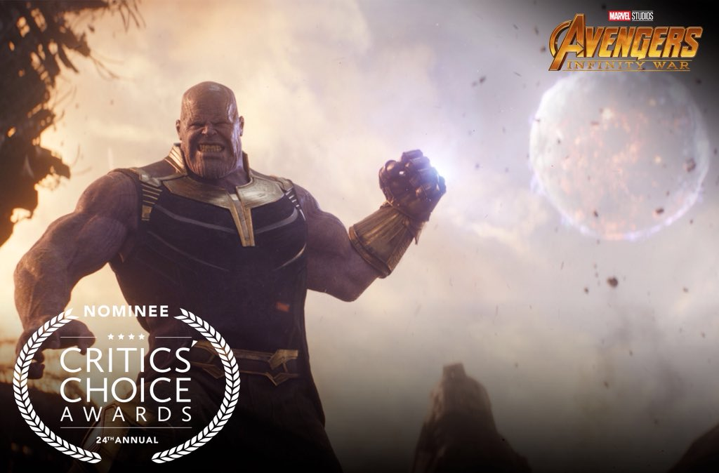 Congratulations to Marvel Studios' Avengers: #InfinityWar which has been nominated for two #CriticsChoice Awards including Best Action Movie and Best Visual Effects!