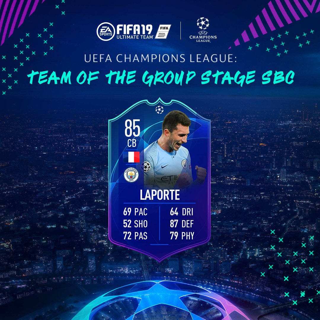 #UCL Team Of The Group Stage Aymeric Laporte available now via SBC #FUT #FIFA19