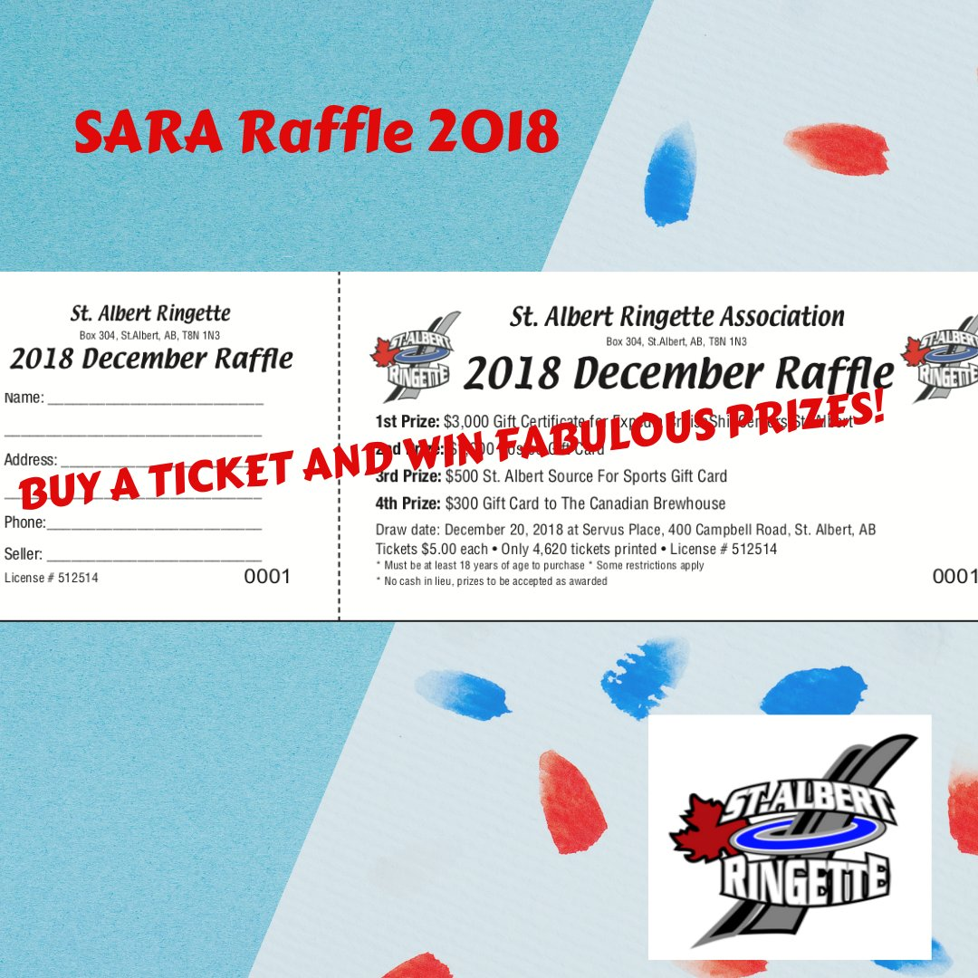 sara is selling raffle tickets purchase a ticket and help support ringette in our community raffle draw will take place on december 20th