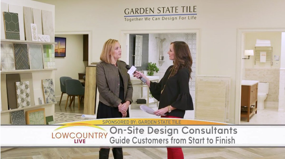 Our #Charleston showroom made its TV debut this morning on #Lowcountry Live! Ops Manager Steele Trotter guided viewers through the benefits of working with #design consultants, why hard surfaces make for a sound investment and more! Watch the video here:  https:// abcnews4.com/lowcountry-liv e/garden-state-tile &nbsp; … <br>http://pic.twitter.com/WhGHDN7HsK