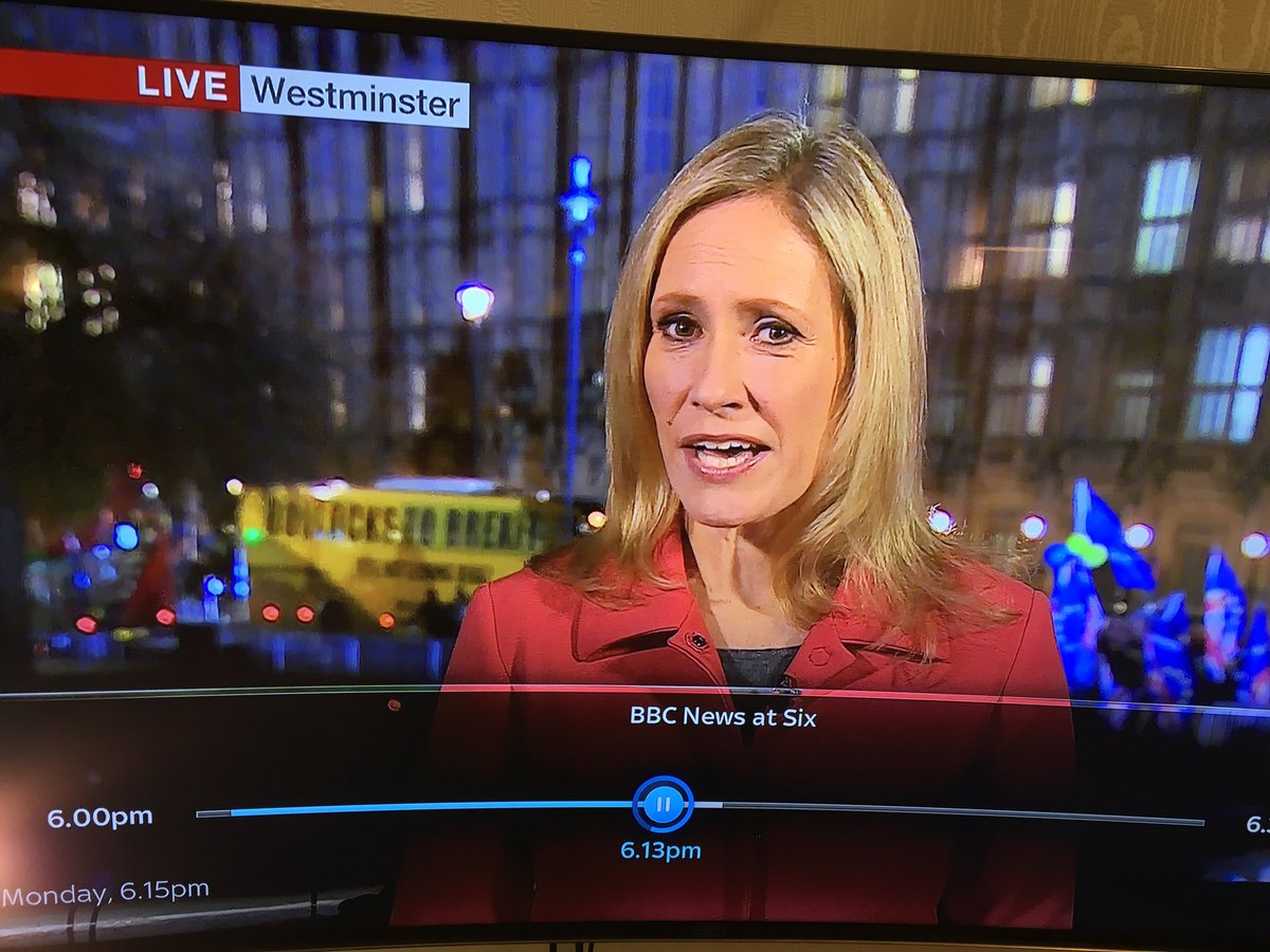 Yellow coach (with blunt message painted on) nicely timed for BBC news at 6pm...#BrexitChaos #BrexitVote