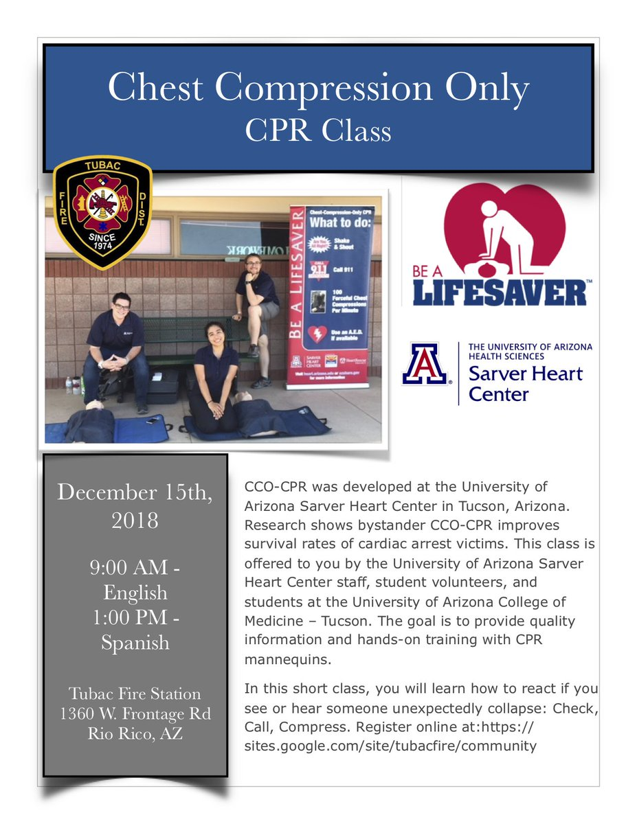 Tubac Fire District On Twitter Joinus For A Free Cco Cpr Class On