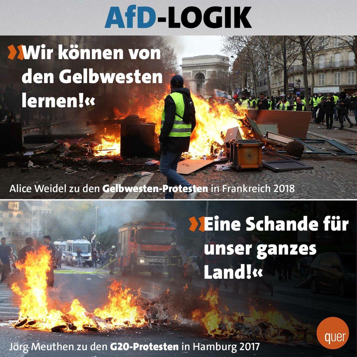 Die Bigotterie der #AfD bei diesen Gewaltorgien ist unerträglich #Gelbwesten