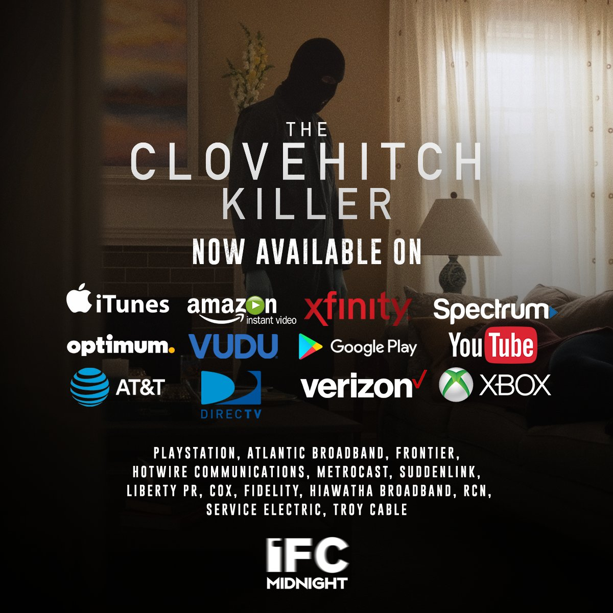 @AnAnimeGiraffe THE CLOVEHITCH KILLER is available on all these VOD outlets (please don't steal it).