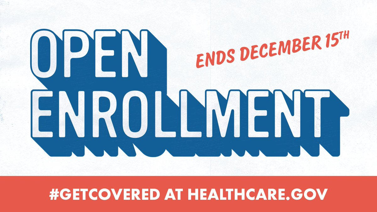 #OpenEnrollment for #HealthInsurance runs until this Saturday, December 15--only 5 more days to enroll for #Healthcare in 2019. Don't miss your chance to #GetCovered, visit https://t.co/1YRuRF1k3B today & start your  wit#NewYear2019h peace of mind. #EnrollByDec15
