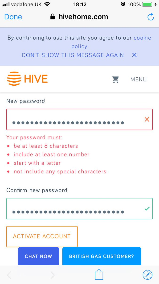 Awful password policy @hivehome