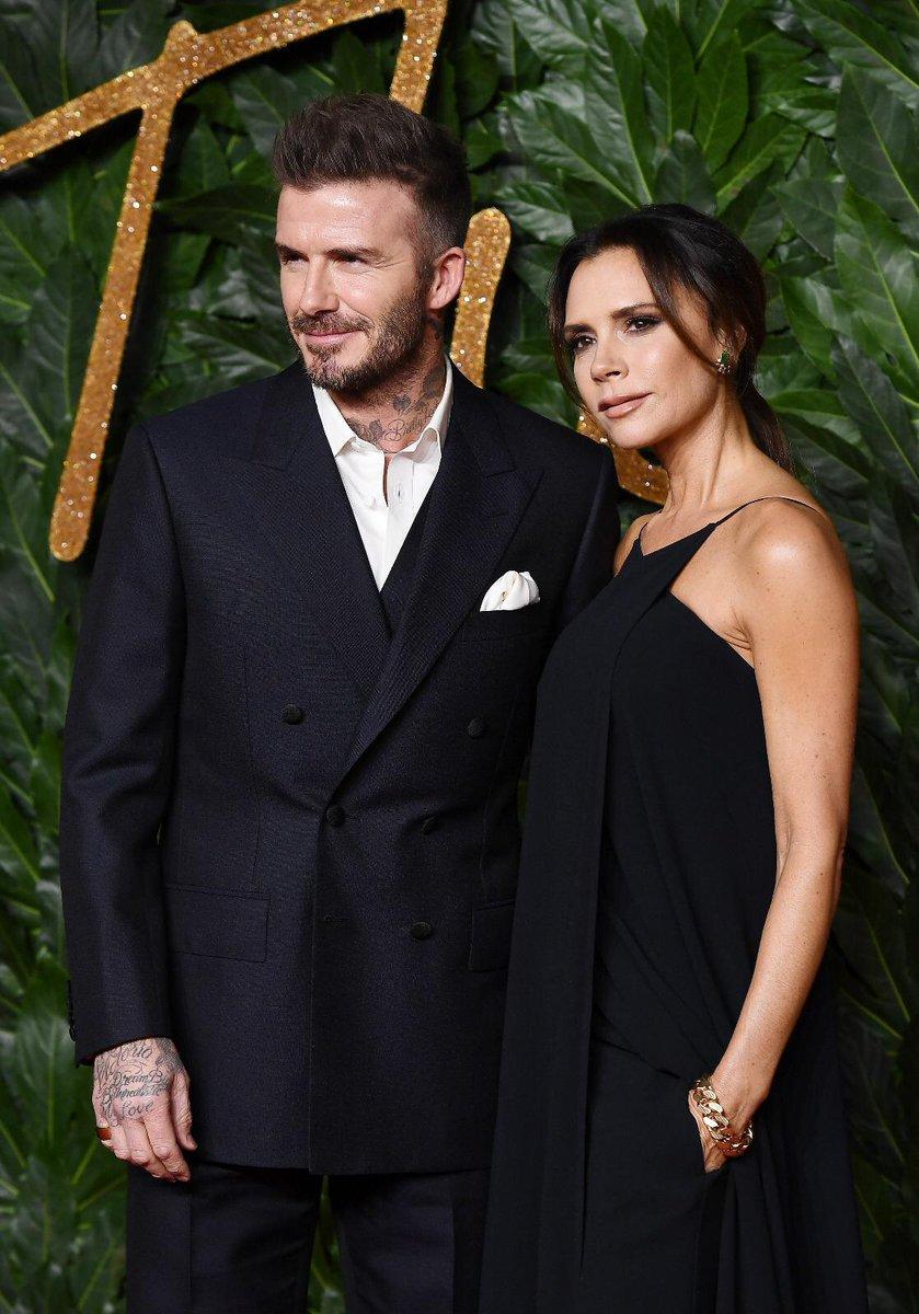 BFC Ambassadorial President David Beckham & British Designer of the Year Womenswear nominee  arr@victoriabeckhamive at the 2018  #FashionAwards@swarovski
