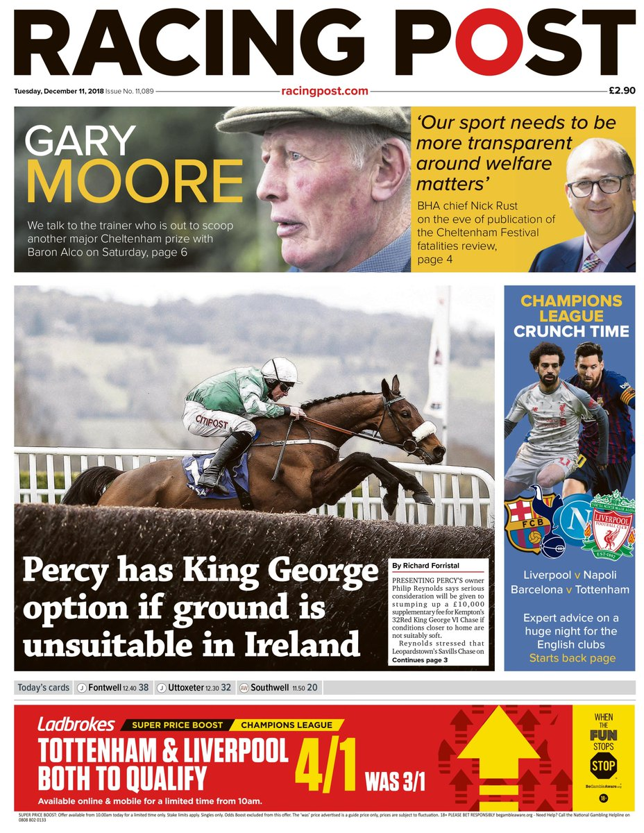 Tuesday's Racing Post: Gary Moore gives the lowdown on his Cheltenham hero Baron Alco and BHA chief executive Nick Rust returns with his guest column
